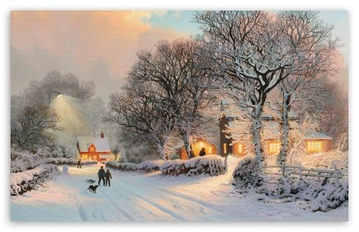 Village In Winter Painting