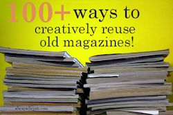 100+ WAYS TO CREATIVELY REUSE OLD MAGAZINES: 100 Ways, Creative Ideas, Creatively Reuse, Recycle Reuse, Old Magazines, Magazine Projects, Recycle Magazines, Magazine Crafts, Recycle Upcycle