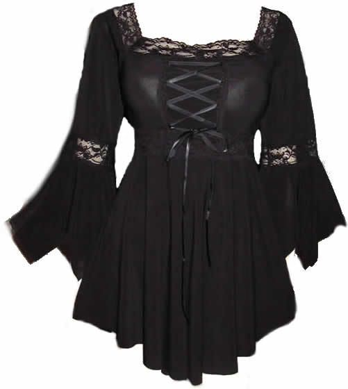 This top features corset lace-up on the bodice, flared sleeves, I have this top