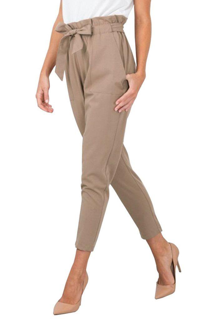 104ad384b BerryGo Women s Casual Loose High Waist Stretchy Skinny Slim Long Pants (8  Colors)