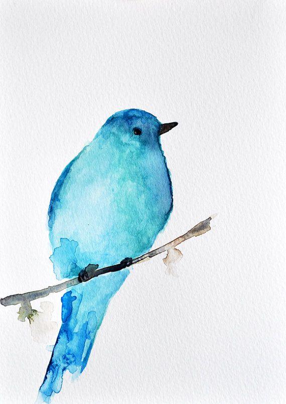 Blue Bird - ORIGINAL Watercolor bird painting / Aqua blue 6x8 inch