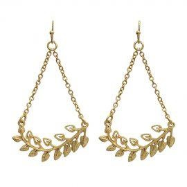 "Bran with Leaves Teardrop Earrings - Matte Gold  - 2.5"" Long   - Quantity: 1  - Item MJ $10.00"