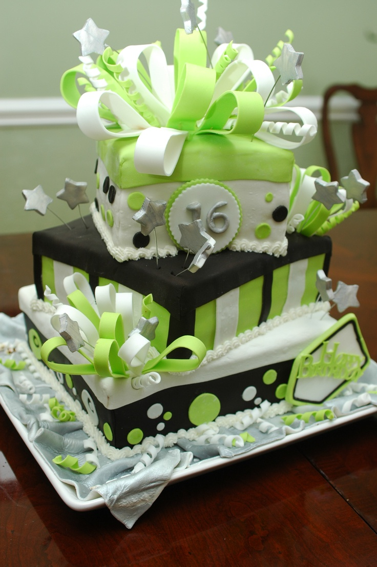 Lime green 16th birthday cake this would also be Awesome for a 50th!!!