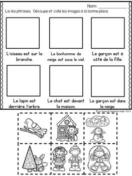 Le prépositions (hiver): Winter Themed Preposition mini-