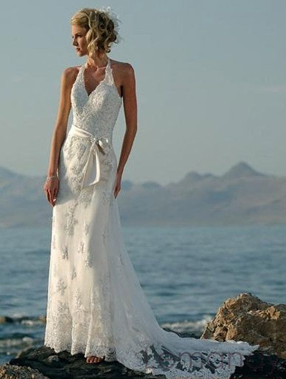 halter A line tulle with lace weding dress by Lemandyweddingdress, $208.00