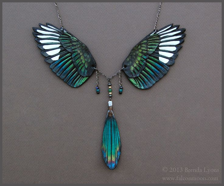 Magpie Wings - Leather Necklace by windfalcon on deviantART