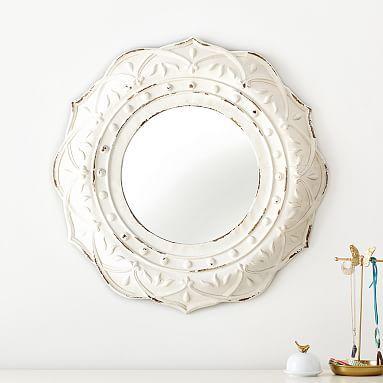 Antique White Framed Mirror
