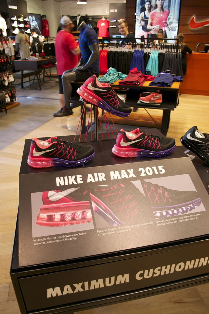 Nike Air Max 2015 retail table display sports shoe display with lit sole and string.