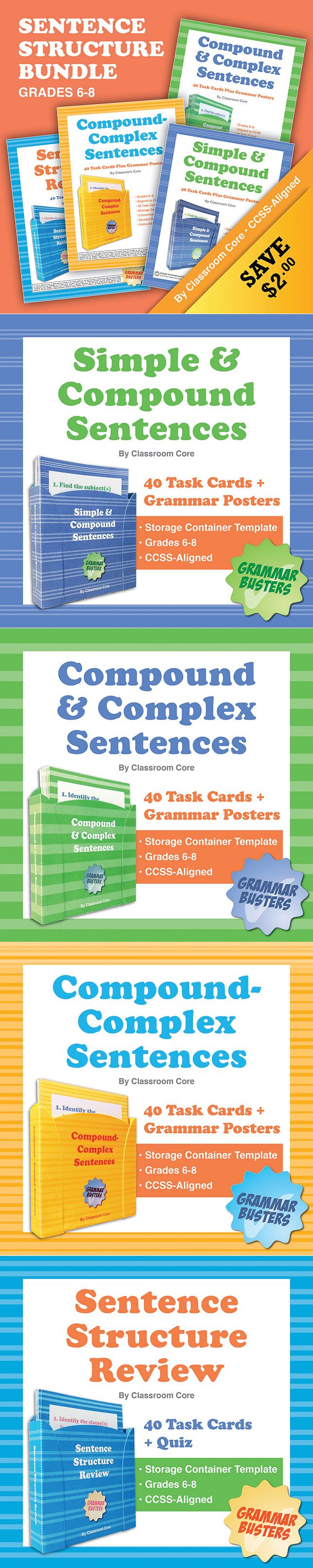 Sentence Structure Bundle: 160 Task Cards Plus Grammar Posters & Quiz. Save $2 when you purchase all of our sentence structure task card products together! This bundle includes four sets that feature simple, compound, complex, and compound-complex sentence task cards, instructions, and posters. All together, the bundle includes 160 task cards, 9 grammar posters, a review quiz, and four build-your-own storage containers for fun and convenient organization of your cards! $