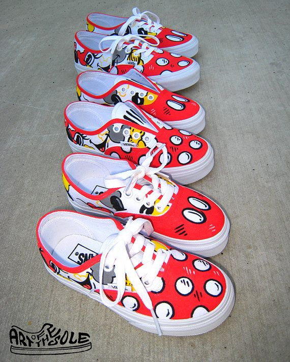 Mickey Loves Minnie Hand Painted Vans Shoes for by ArtOfTheSole