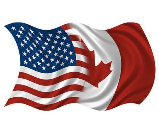 Canadian American Flag Waving | American Canadian Waving Flag USA Canada Car Vinyl Bumper Sticker
