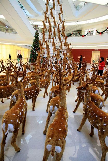 Hundreds of life-size toy deer are lined up in the lobby of a mall in Shenyang, capital of northeast China's Liaoning Province. The deer have been arranged on the ground and climbing up a ladder hanging from the ceiling of the mall - as though they were taking flight.