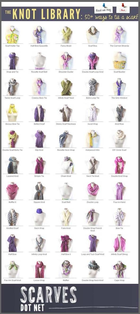 Scarf Tying Techniques | The Knot Library: 50 Ways to Tie a Scarf | Infographic A Day