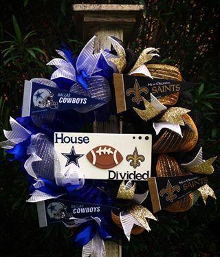 Omg I LOVE this!!!! Cowboys / Saints wreath www.facebook.com/krazygirlscreations