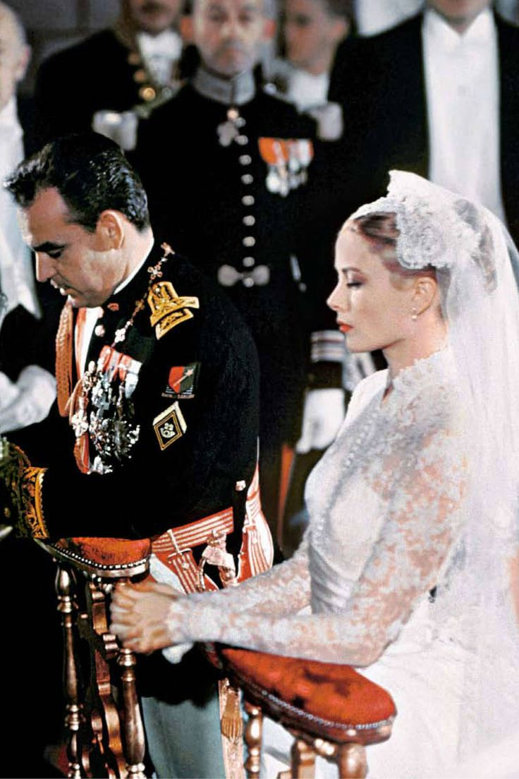 At her wedding to Prince Rainer III of Monaco, April 19, 1956, Grace Kelly wore a Christian Dior Gown
