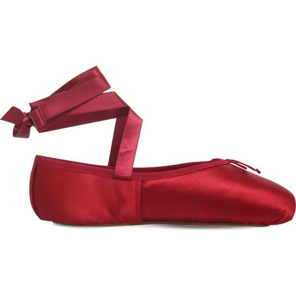 OPERA NATIONAL DE PARIS Preston pointe satin ballet flats ($180) ❤ liked on Polyvore featuring shoes and flats