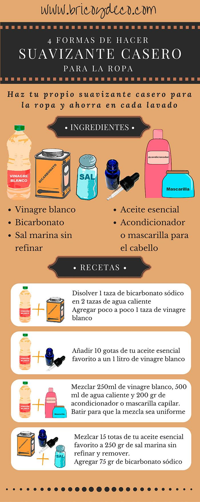 4 formas de hacer suavizante casero para la ropa en www.bricoydeco.com                                                                                                                                                                                 Más