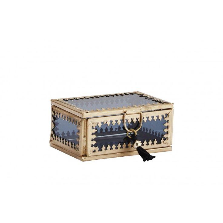 Liten glasbox guld/grå, Madam Stoltz - Övrigt  | SPITI - Skön inredning - Marockansk orientalisk indisk fransk provence