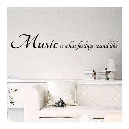 Vinilo decorativo de texto con la frase en ingl s music - Pegatinas para las paredes ...