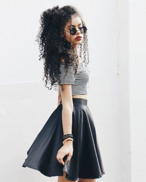 Skirt: black grunge wishlist curly hair leather skater crop tops striped top round sunglasses