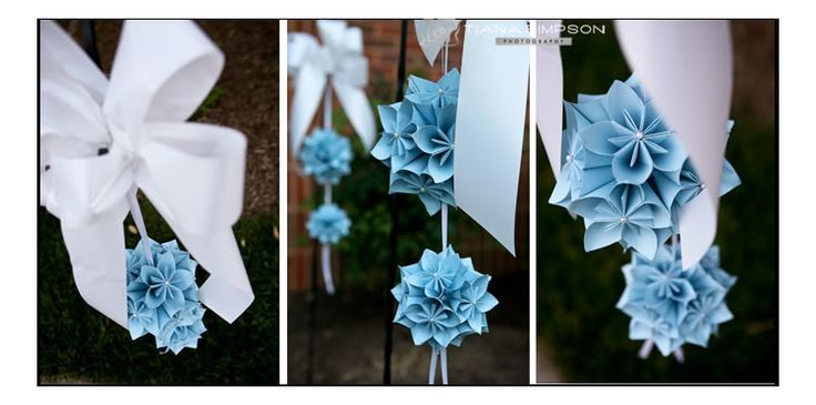 Tiana Simpson Photography: Weddings, Paper flowers oragami hanging details, blue and white wedding