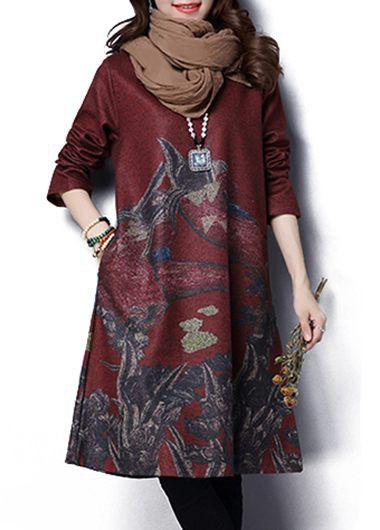 Wine Red Round Neck Printed Long Sleeve Dress  on sale only US$35.84 now, buy cheap Wine Red Round Neck Printed Long Sleeve Dress  at lulugal.com