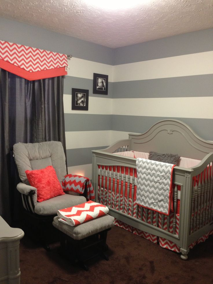 Grey And Coral Nursery! Love The Stripes And Chevron