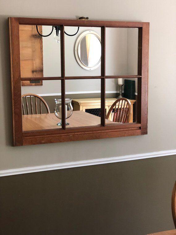 Large Wall Mirror Window Mirror Upcycled Rustic 6 Pane Home Decor Mirror Wall Bedroom Modern Mirror Wall Mirror Design Wall