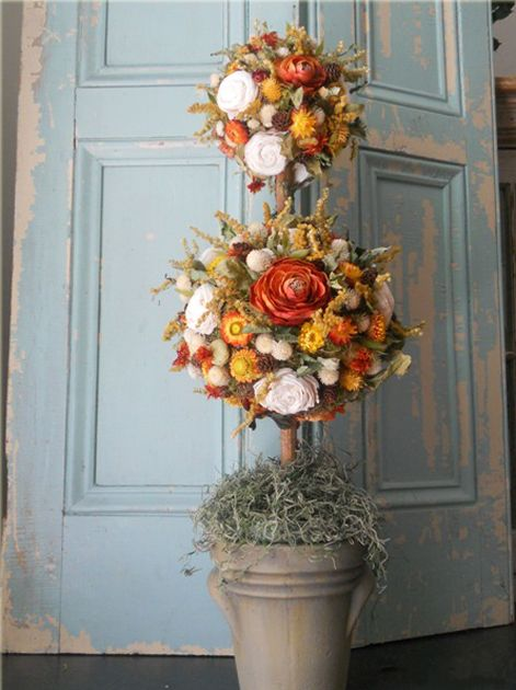 Gorgeous Fall topiary - expensive. Might be able to do with silk flowers...still…
