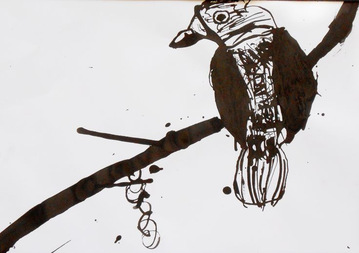 Observational Ink drawing using photograph. Black ink and bamboo pen Year 6