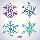 Set of watercolor snowflakes. EPS 10. No transparency. Gradient.
