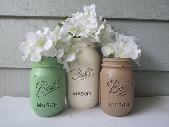 Painted and Distressed Ball Mason Jars Sage by theretroredhead, $22.00