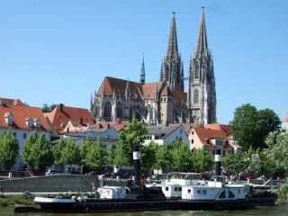 """regensburg germany-It is a beautiful medieval city, with wonderful architecture.,  st Peters Cathederal is a must see ! Valhalla is another """" must see"""", a Colosseum built by King Ludvic, high above the hills with jaw dropping views .!"""