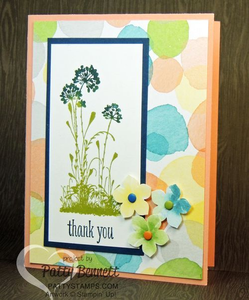 Serene Silhouettes thank you card with Watercolor Wonder DSP background.  Punches Petite petals flowers with candy dots for embellishments. by Patty Bennett www.PattyStamps.com