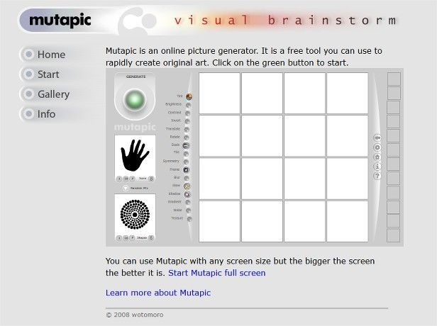 Captura de pantalla de la apariencia del programa MUTAPIC