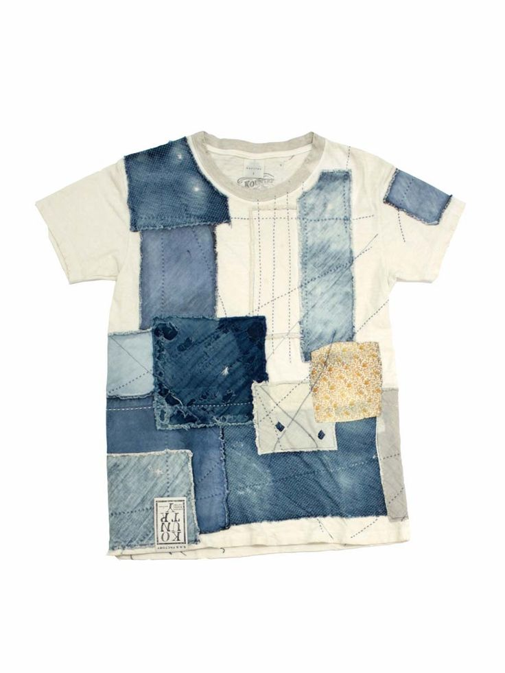 T-shirt makeover - patchwork of different distressed denims and calico are patched onto the shirt and further embellished with running stitches