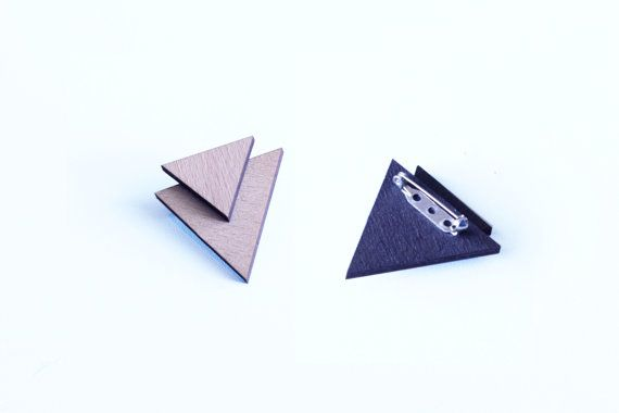 ∆ wooden triangle brooch ∆ visit our shop: www.etsy.com/shop/paperpow