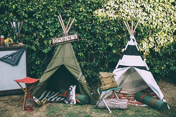 camping out Miss those days of summer camp? Us too. Recreate the youthful feel with mini teepees, bandanas for guests, artillery games, and sloppy joes.