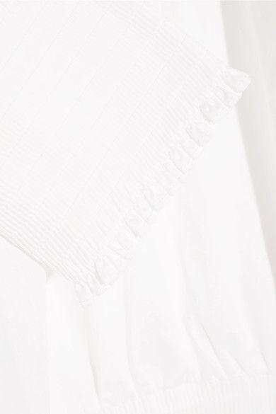 Maje - Ruffled Cotton-poplin Blouse - White - 1