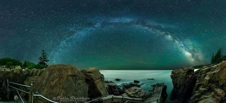 The Milky Way over Thunder Hole in Acadia National Park in Maine