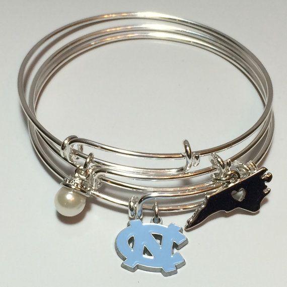 North Carolina Tarheels: Set of three. $32.00 Alex and ani inspired. www.Scrabblechick.etsy.com