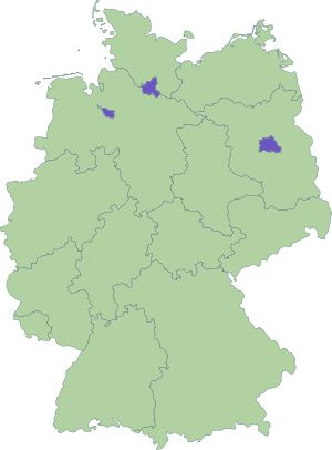 16 States of Germany - Baden-Württemberg, Bavaria, Berlin, Brandenburg, Bremen, Hamburg, Hesse, Lower Saxony, Mecklenburg-Vorpommern, North Rhine-Westphalia, Rhineland-Palatinate, Saarland, Saxony, Saxony-Anhalt, Schleswig-Holstein, Thuringia