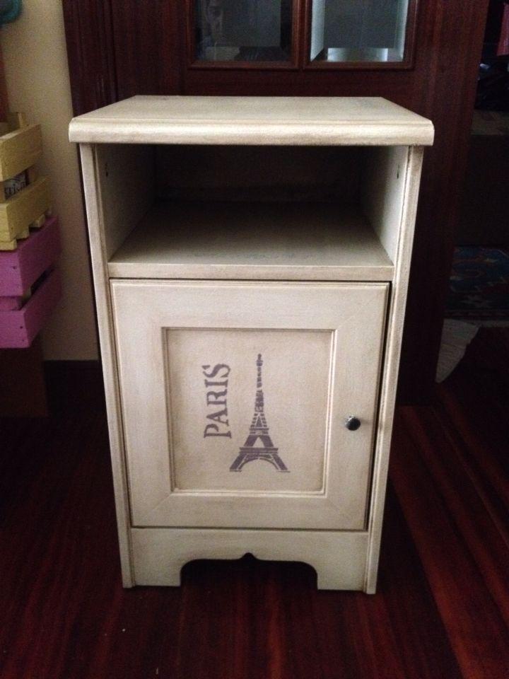 Mesilla de ikea pintada con pintura de tiza plantilla y for Quitar cera de muebles envejecidos