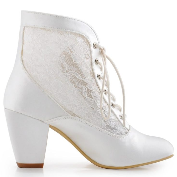 Ivory White Closed Toe Comfort Square Heel Satin Lace Wedding Boots - My Wedding Ideas