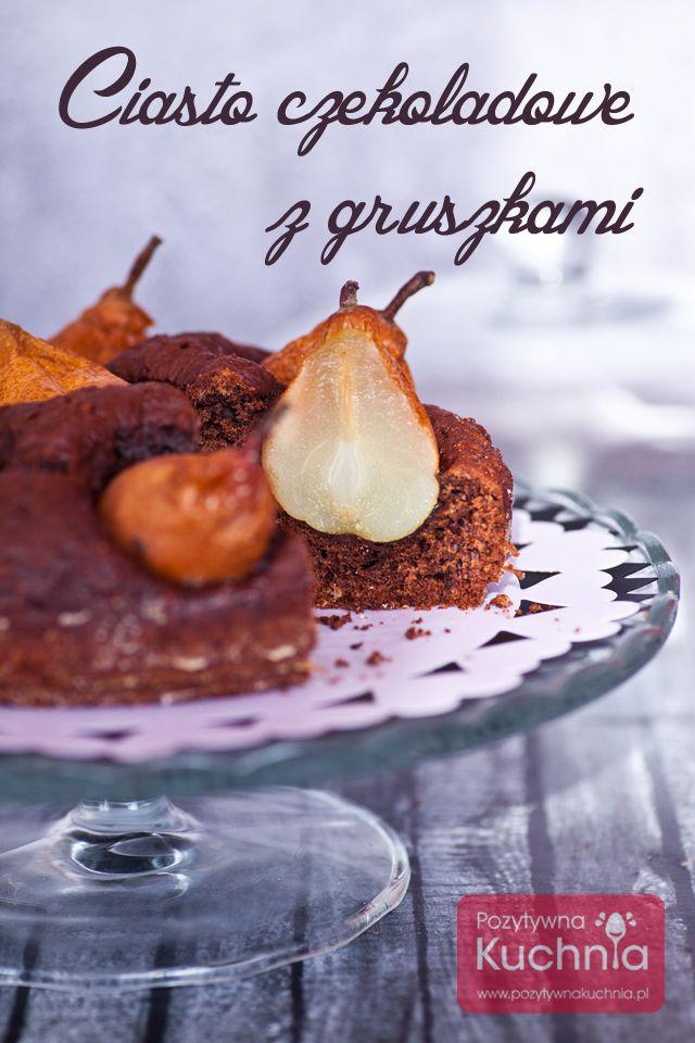 Ciasto czekoladowe z gruszkami, pachnące cynamonem i kardamonem, bez miksowania :).  http://pozytywnakuchnia.pl/ciasto-czekoladowe-z-gruszkami/  #ciasto #czekolada #gruszki #przepis #kuchnia #deser