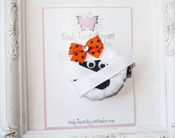 Mummy+Bow.+Halloween+Ribbon+Sculpture+by+SculptureClippiesNCo,+$4.25