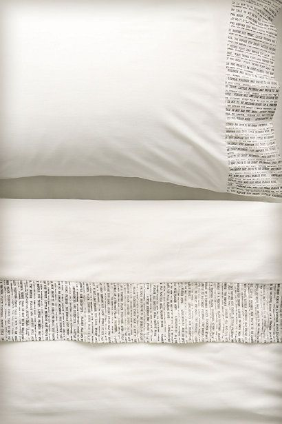 bedtime stories: Bedtime Stories, Anthropology With, Sheet Sets, Typefac Sheet, Beds Sheet, Anthropology Typefac, Bedrooms Closet, Beds Linens, Guest Rooms