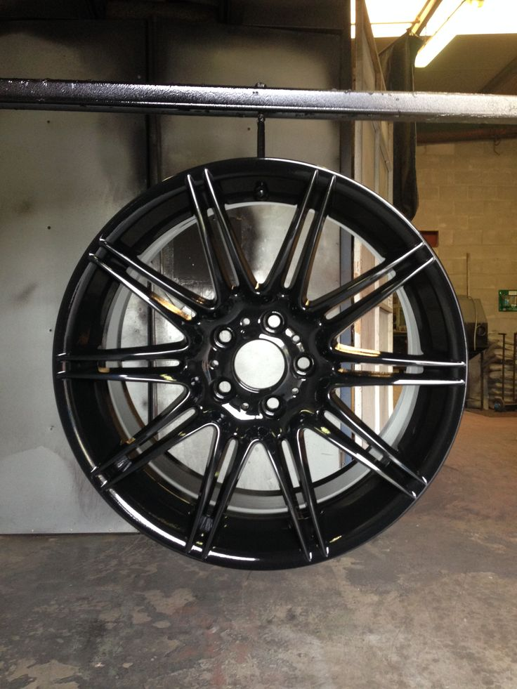 BMW spyder wheels done in high gloss black by donegalpowdercoating company