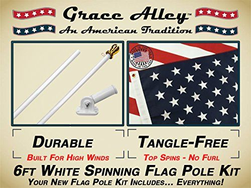 Outdoor Décor-Flag Pole Kit Tangle Free Flag Pole Kit includes US Flag  Made in USA Outdoor Flag Pole and Flag Pole Bracket Great for Residential or Commercial American Classic White by Grace Alley >>> You can get additional details at the image link.