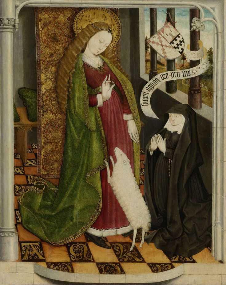 St. Agnes with Geertruy van Slingelandt, c. 1465.  One of the earliest surviving examples of Northern Netherlandish paintings.  The artist is unknown, but believed to be from Dordrecht.  The painting is in the Rijksmuseum.